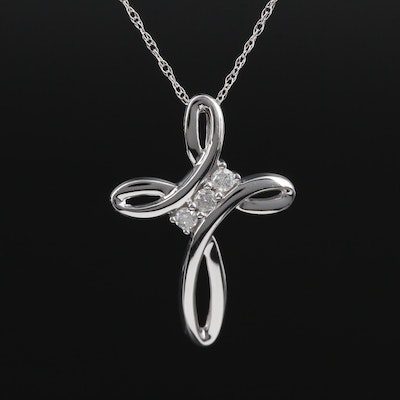 10K White Gold Diamond Cross Pendant on 14K Singapore Chain Necklace
