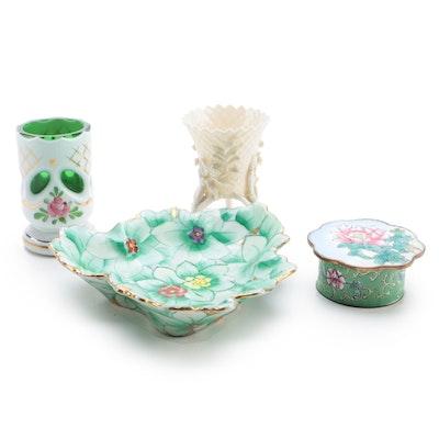 Antique Belleek Porcelain Vase with Ardalt Porcelain Bowl and Other Décor