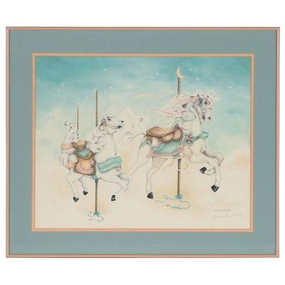 Deborah Terrusa Offset Lithograph of Carousel Horses, 1989