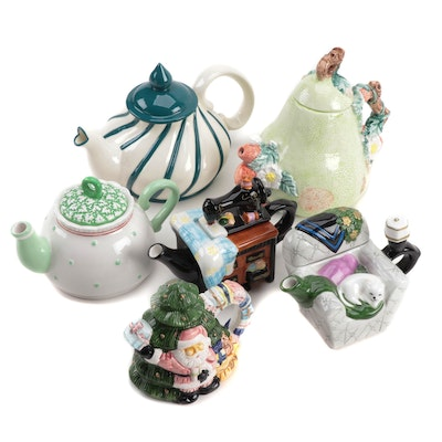 Ceramic Teapots Including Houston Harvest and Susan Branch