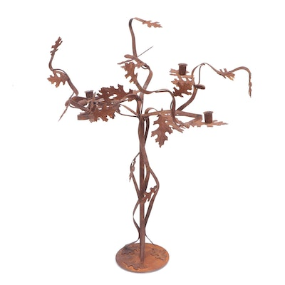 Oxidized Metal Oak Leaf Candelabra