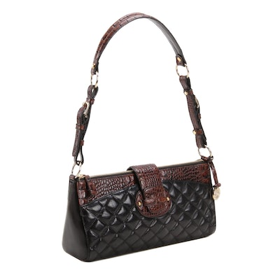 Brahmin Crocodile Embossed and Quilted Leather Shoulder Bag