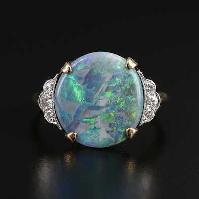 Circa 1930s 14K Opal and Diamond Ring with Platinum Accents