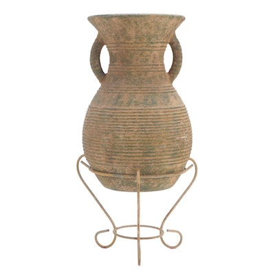 Slip Glaze Earthenware Floor Vase with Metal Stand