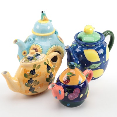 Bella Casa and California Pantry Ceramic Teapots with Teapot Birdhouse