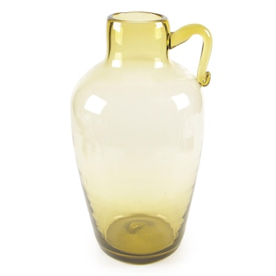 Green Art Glass Pitcher with Applied Handle