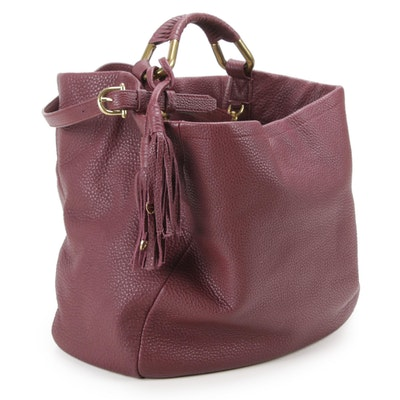 Etienne Aigner Pebbled Leather Shoulder Bag with Tassels in Merlot