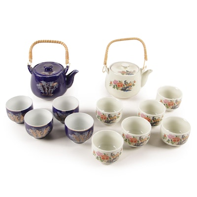 East Asian Ceramic Teapots and Footed Cups with Floral and Bamboo Motifs