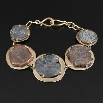14K Yellow Gold Bracelet with Spanish Colonial Cob Coins