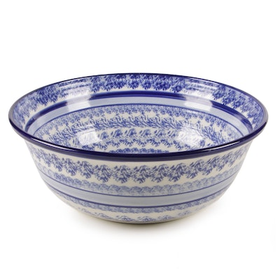 Terri Danek-Meyer Blue and White Spongeware Bowl