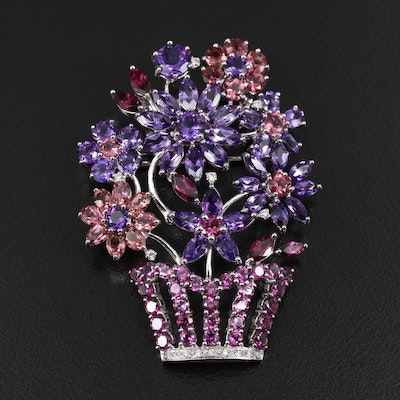 14K White Gold Diamond and Gemstone Flower Basket Converter Brooch