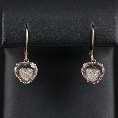 14K Yellow Gold Diamond and Amethyst Heart Drop Earrings