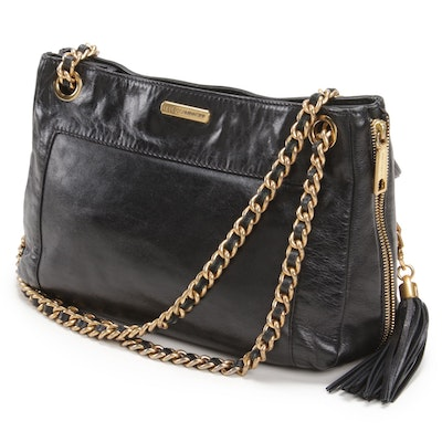 Rebecca Minkoff Black Leather Swing Bag with Tassel and Chain Straps