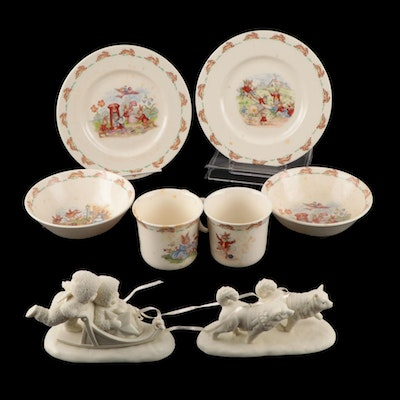 """Royal Doulton """"Bunnykins"""" Child Dinner Sets with Department 56 """"Snowbabies"""""""