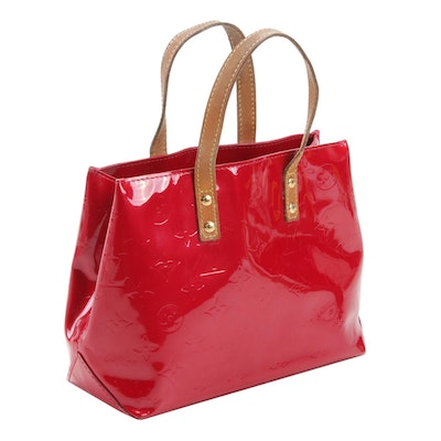 Louis Vuitton Red Monogram Vernis Reade PM Top Handle Bag