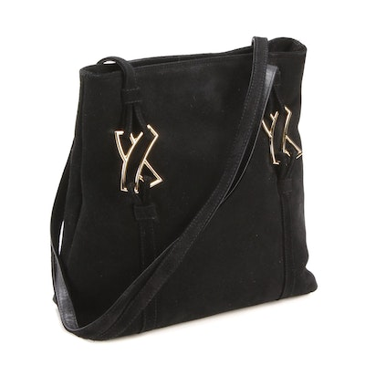 By Paloma Picasso Black Suede and Leather Shoulder Bag