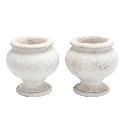 Pair of Carved Stone Urn Planters