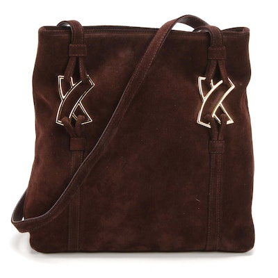 By Paloma Picasso Brown Suede and Leather Shoulder Bag