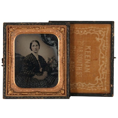 Ruby Glass Ambrotype, Mid 19th Century