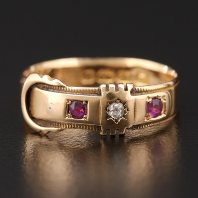 Victorian 18K Yellow Gold Diamond and Ruby Ring