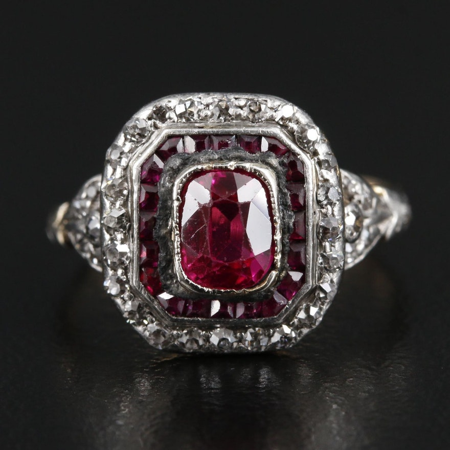 Antique 14K and Platinum Synthetic Ruby and Diamond Ring