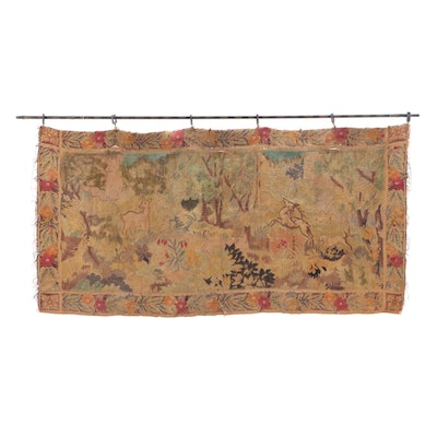 Handwoven and Painted Flemish Style Verdure Tapestry, Early 20th Century