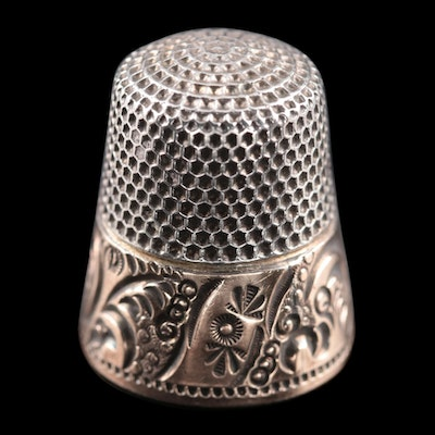 American Sterling Silver Thimble, Early to Mid 20th Century
