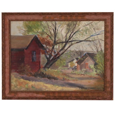 Ada B. Underhill Oil Painting of Rural Landscape