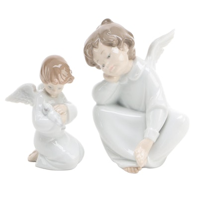 "Lladró ""Angel Dreaming"" and ""Loving Protection"" Porcelain Figurines"