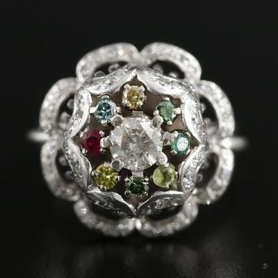 Vintage Platinum 1.45 CTW Diamond and Gemstone Ring