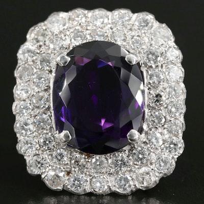 Platinum 10.64 CT Amethyst Ring with 4.16 CTW Diamond Halo
