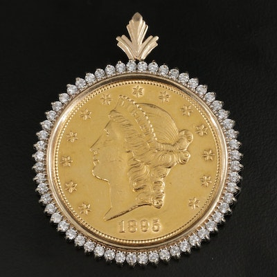 14K Yellow Gold Cubic Zirconia Bezel Pendant with 1895 Liberty Head Gold Coin