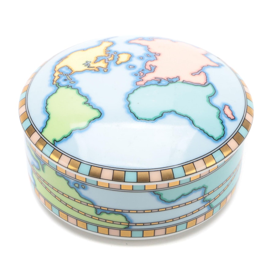 "Tiffany & Co. ""World"" Porcelain Trinket Box, Ca. 2000"