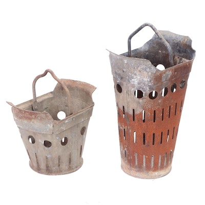 English Galvanized Metal Coal Buckets, circa 1900