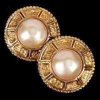 Chanel Gold Tone Imitation Pearl Clip-On Earrings