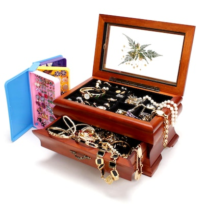 Costume Jewelry in Glass Top Wooden Jewelry Box