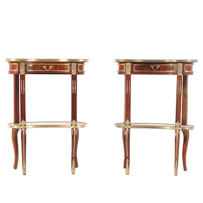 Pair of Louis XVI Style Gilt Metal-Mounted Mahogany & Tulipwood Tables à Rognon