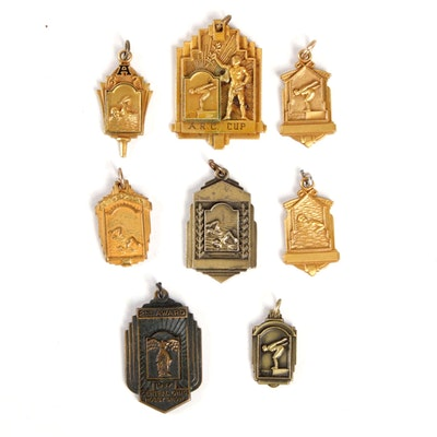 1940 Art Deco Style Award Medallions, Including Sterling Silver