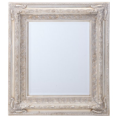 Contemporary Silvered-Wood Mirror