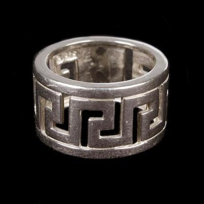 Sterling Silver Greek Key Ring