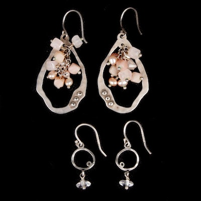 Sterling Silver Rhinestone and Beaded Earrings