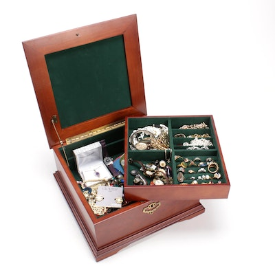 Costume Jewelry and Souvenir Handkerchiefs in Top Handled Jewelry Box