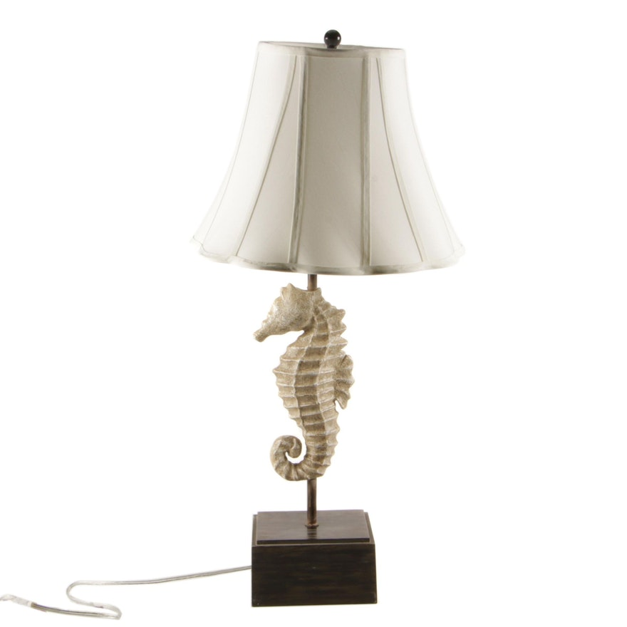 Resin Seahorse Table Lamp with Fabric Shade