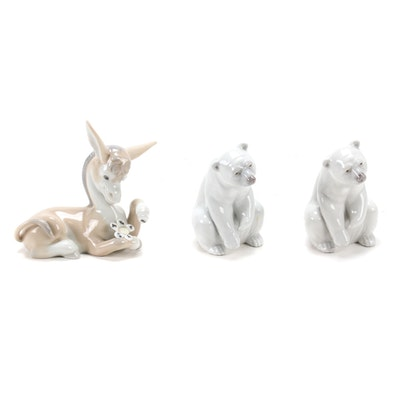 "Lladró ""Resting Polar Bear"" and ""Donkey in Love"" Figurines"