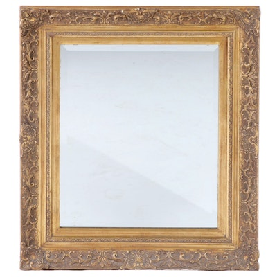 Giltwood and Gesso Beveled Wall Mirror