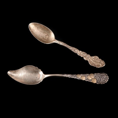 "Gorham ""Versailles"" and Wendell Sterling Silver Souvenir Spoons"