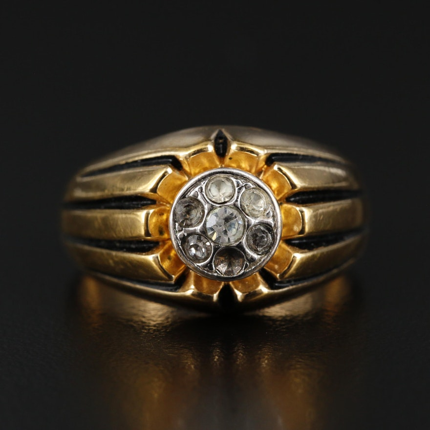 Rhinestone Ring with Carved Shoulders