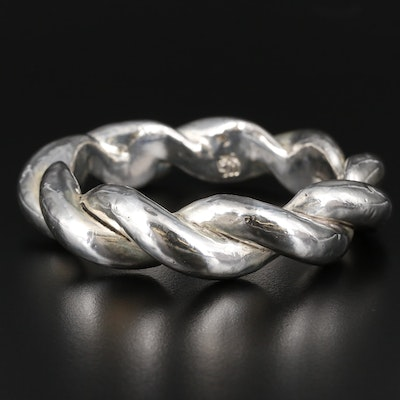 Sterling Silver Electroform Braided Bangle