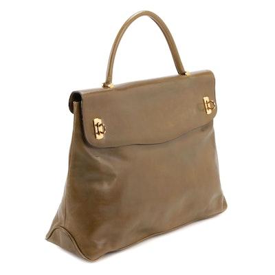 Salvatore Ferragamo Olive Leather Front Flap Top Handle Bag