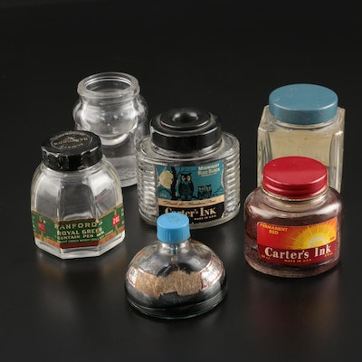 Carter and Samford Ink Bottles for Fountain Pens, Early-Mid 20th Century